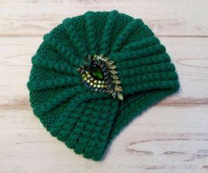 Шапка чалма спицами для женщин — 4 схемы с описанием вязания