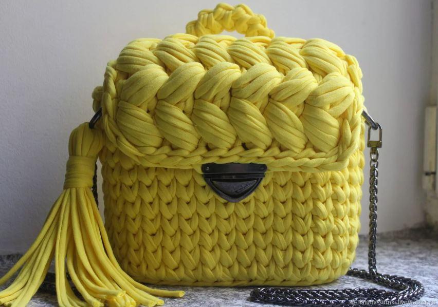 вязаная сумка из трикотажной пряжи схема